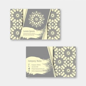 Conjunto de negócios, visitando, cartões com mandala desenhada de mão Vetor Premium