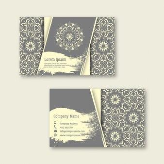 Conjunto de negócios, visitando, cartões com mandala desenhada de mão