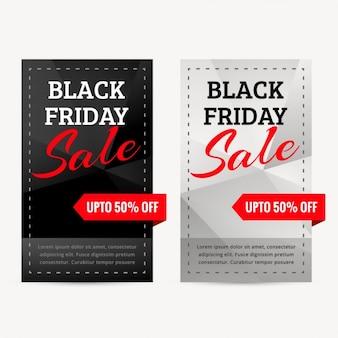 Conjunto de negros bandeiras da venda de sexta-feira