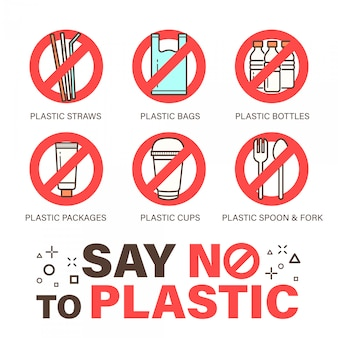 Conjunto de nenhum símbolo de plásticos. conceito de problema ambiental. design simples, ícone de estilo de contorno de traçado.