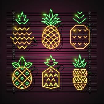 Conjunto de néon abacaxi