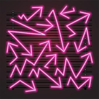 Conjunto de néon com seta rosa zig zag