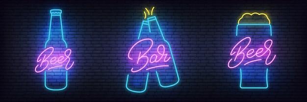 Conjunto de néon de cerveja, brilhando letras sinais de cerveja para bar, pub
