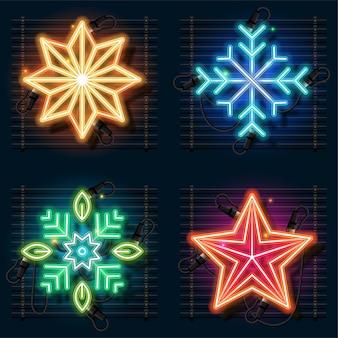Conjunto de néon de natal de ornamento.