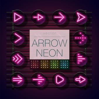 Conjunto de néon de seta. conjunto de setas rosa, vermelho, amarelo, verde e azul.