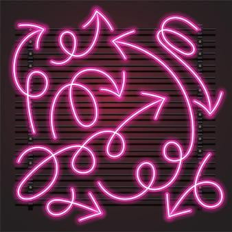 Conjunto de néon de seta rosa tendrill