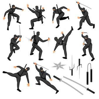 Conjunto de ninja isométrico de caracteres humanos isolados de guerreiro em várias poses com ilustração vetorial de armas