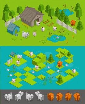 Conjunto de nível de jogo isométrico arcade. fox ladrão rouba galinhas no cão fazenda protege. fundo de elementos diferentes caracteres.
