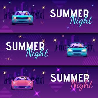 Conjunto de noite de verão de inscrição