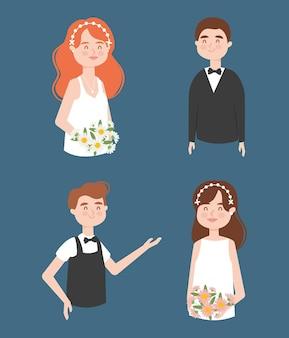 Conjunto de noivas e noivos