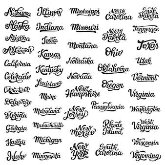 Conjunto de nomes de estado de mão desenhada eua