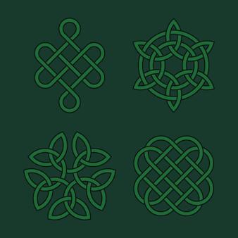 Conjunto de nós celtas de vetor. símbolos espirituais medievais irlandeses