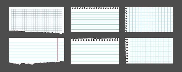 Conjunto de nota branca rasgada. folhas de papel do caderno em uma gaiola, em linha, notas rasgadas de pedaços. páginas em branco do bloco de notas. pedaço vazio da coleção rasga papel, álbum de recortes de folhas. ilustração isolada