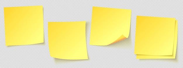 Conjunto de notas adesivas amarelas