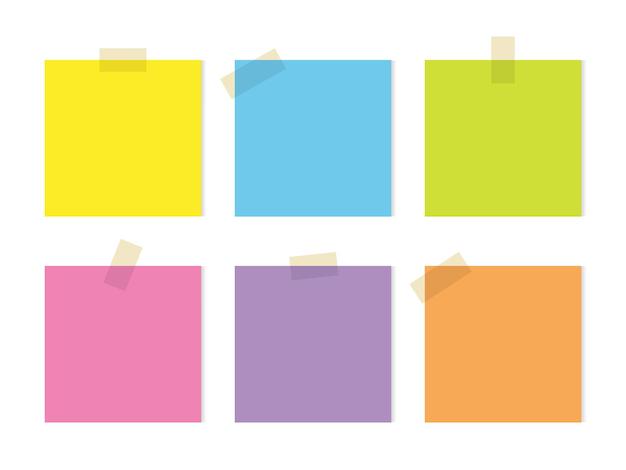 Conjunto de notas adesivas coloridas