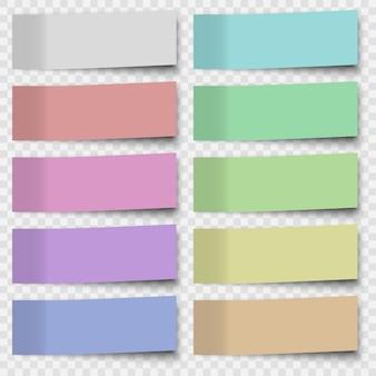 Conjunto de notas autoadesivas ou folhas de papel de escritório