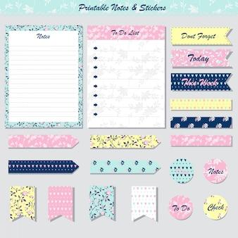 Conjunto de notas, cartões, etiquetas e adesivos para impressão