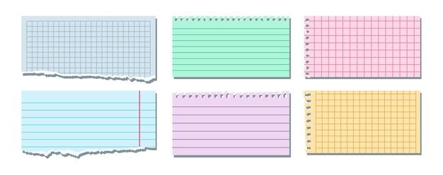 Conjunto de notas coloridas rasgadas