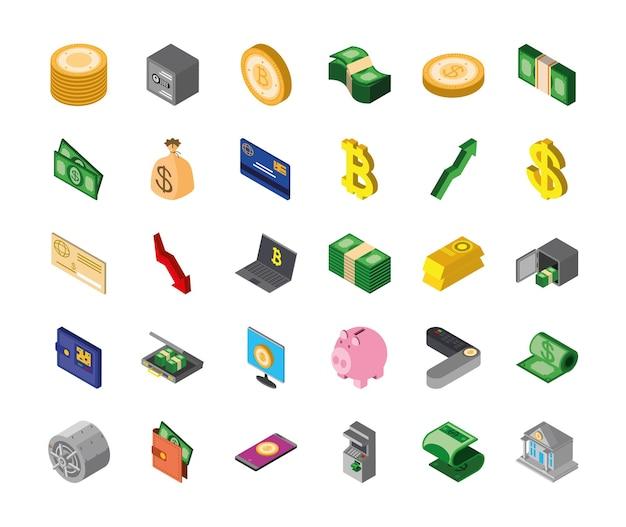 Conjunto de notas de bitcoin de moedas de dinheiro