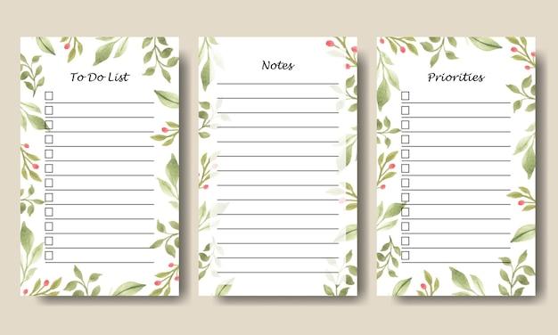 Conjunto de notas de folha de planta verde em aquarela projeto de modelo de lista de tarefas