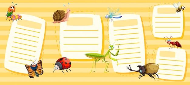 Conjunto de notas de insetos amarelos