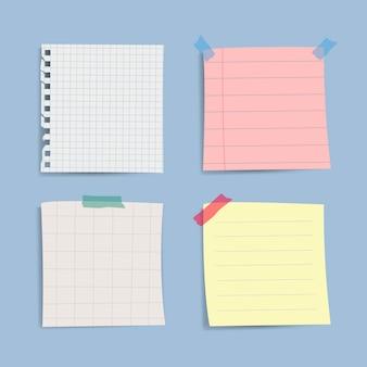 Conjunto de notas de papel lembrete em branco