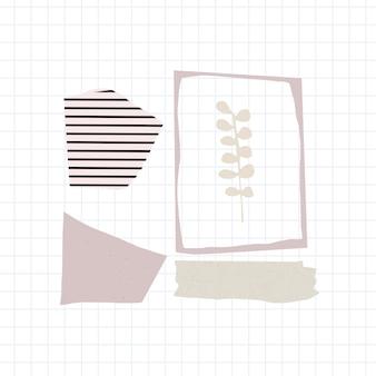 Conjunto de notas de papel rasgado