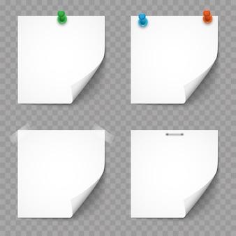 Conjunto de notas e adesivos de papel branco