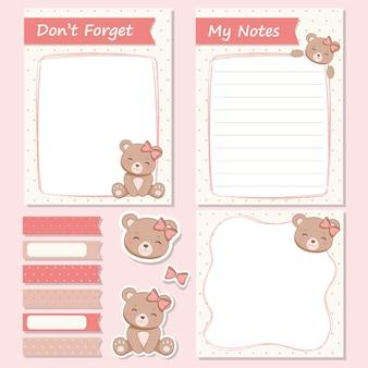 Conjunto de notas e adesivos de ursinha fofa