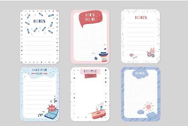 Conjunto de notas e cartões de scrapbook