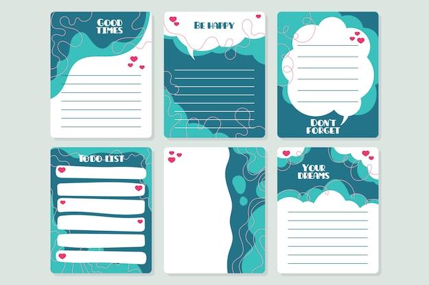 Conjunto de notas e cartões decorativos para álbum de recortes