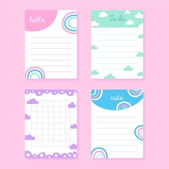 Conjunto de notas e cartões fofos para álbum de recortes