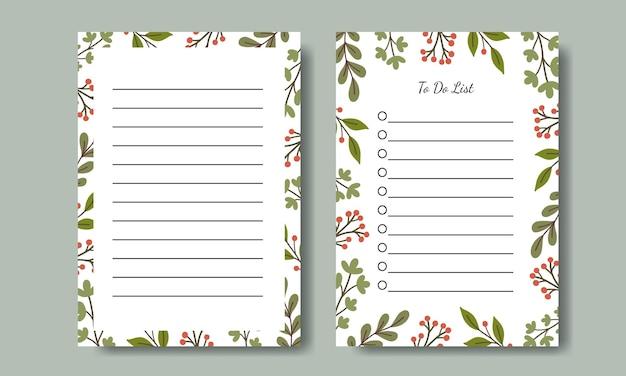 Conjunto de notas e design de modelo de lista de tarefas com fundo de ilustração de folha verde desenhada à mão para impressão