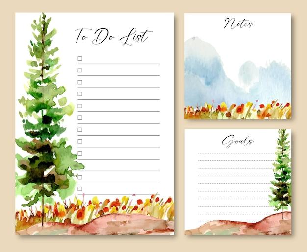 Conjunto de notas e modelo de lista de tarefas com árvores em aquarela e campo floral