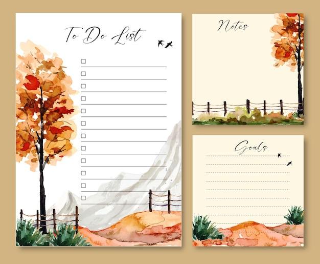 Conjunto de notas e modelo de lista de tarefas com árvores em aquarela e vista para a montanha
