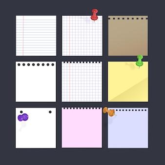 Conjunto de notas isoladas realistas de papel vazio