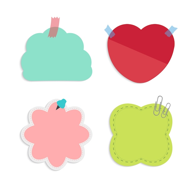 Conjunto de notas lembrete colorido