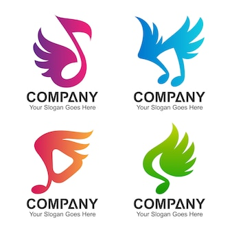 Conjunto de notas musicais com design de logotipo de asa