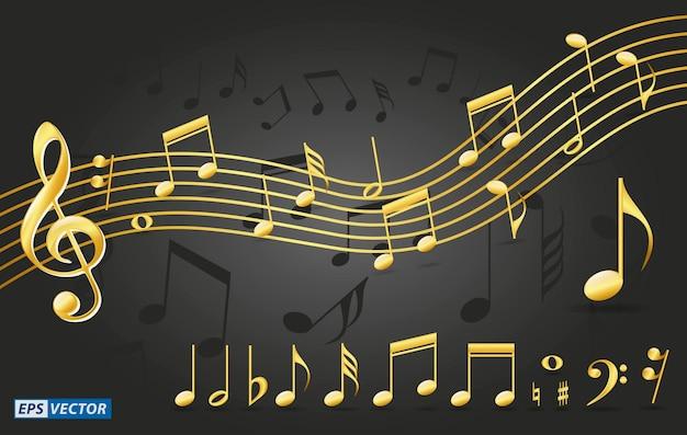 Conjunto de notas musicais douradas realistas ou símbolos de notas musicais na cor dourada