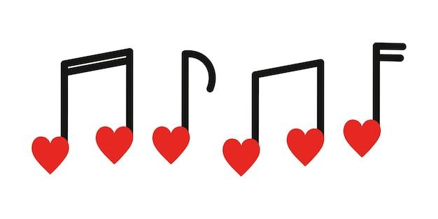Conjunto de notas musicais em forma de coração isolado no fundo branco melodia de música romântica do dia dos namorados
