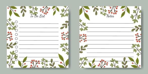 Conjunto de notas para fazer lista modelo quadrado com fundo de ilustração de folha verde desenhada à mão para artigos de papelaria