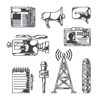 Conjunto de notícias com imagens isoladas de estilo de esboço de equipamentos de transmissão, gravadores portáteis, bloco de notas, jornal e ilustração vetorial de id