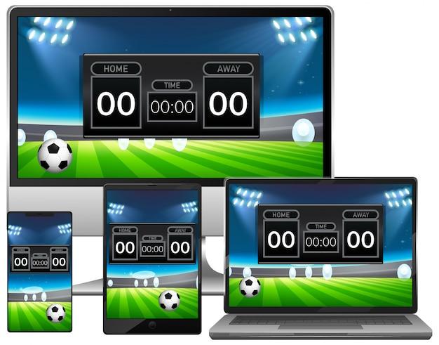Conjunto de notícias de placar de partidas de futebol em diferentes telas de dispositivos eletrônicos