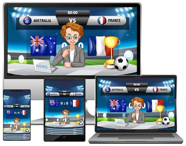 Conjunto de notícias de resultados de partidas de futebol em diferentes telas de dispositivos eletrônicos