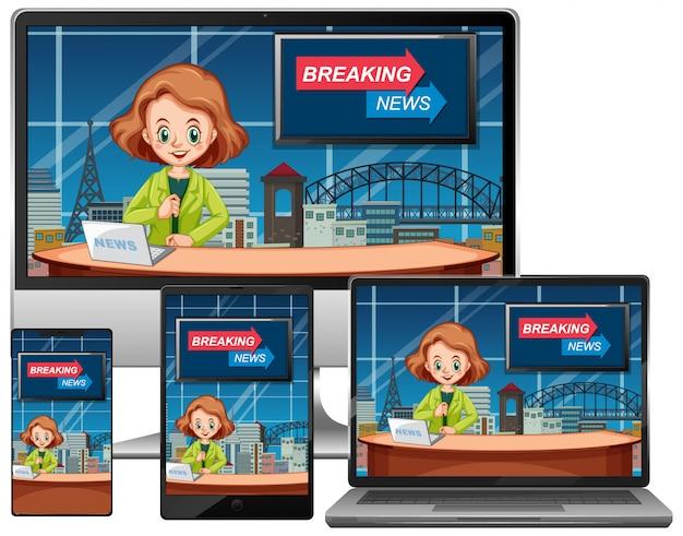 Conjunto de notícias de última hora em diferentes telas de aparelhos eletrônicos isoladas