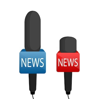 Conjunto de notícias do microfone.