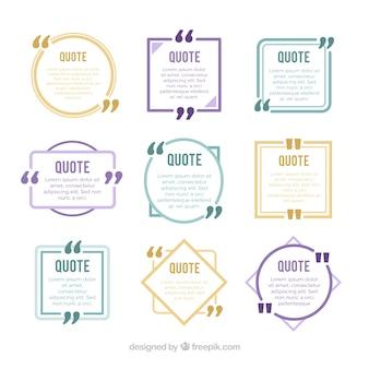Conjunto de novas citações de estilo com figuras geométricas