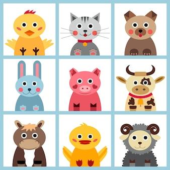 Conjunto de nove animais de fazenda