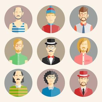 Conjunto de nove avatares masculinos em estilo simples, mostrando as cabeças e ombros coloridos de uma coleção diversificada de homens vestindo diferentes ilustrações de moda