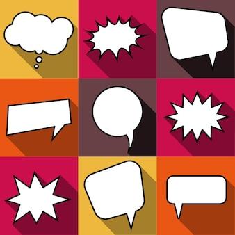 Conjunto de nove bolhas do discurso do balão em quadrinhos dos desenhos animados em estilo simples. elementos de design de quadrinhos sem frases. ilustração vetorial